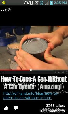 Dead link - but you scrape the top of the can on concrete and then squeeze the sides to pop the top off