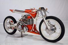 "This custom bike name ""Fiat Abarth"" by North Coast Custom. Francesco Bella built this custom bike around a Fiat 500 Engine from the 60's."