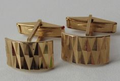 Vintage cufflinks Gold-tone Curved Hinged Flashy Cut pattern c 1970s men ladies