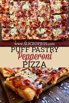 Pesto Ricotta Puff Pastry Pizza with Pepperoni This puff pastry pepperoni pizza is delicious and flaky. This recipe makes a great game day lunch, dinner, or a fun date night meal for two. Puff Pastry Pizza, Puff Pastry Sheets, Puff Pastry Recipes, Puff Pastries, Fun Pizza Recipes, Cooking Recipes, Dessert Recipes For Kids, Skillet Recipes, Cooking Gadgets
