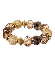 Another great find on #zulily! Brown Crystal Stretch Bracelet by Majestic #zulilyfinds