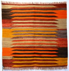 Kilims sofreh Beautiful color combination of orange, yellow, red, grey and dark brown
