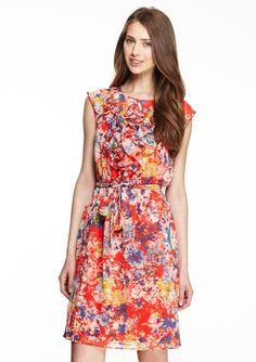 On ideeli: EMMA & MICHELLE  Sleeveless Ruffle Front Print Dress