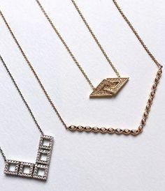 Sleek, geometric layers. #danarebecca #statement #necklaces #diamonds