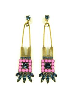 Madison pin earrings (pink/navy) //AUDEN Jewelry