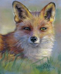 """Daily+Paintworks+-+""""Fox+in+the+morning""""+-+Original+Fine+Art+for+Sale+-+©+emily+Christoff-Flowers"""