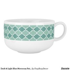 Dark & Light Blue Moroccan Pattern Soup Bowl