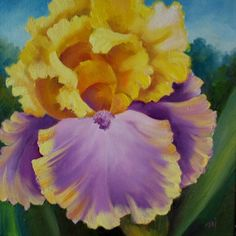 Yellow and Lavender Iris, painting by artist Nel Jansen