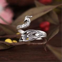 925 Sterling Silver Peacock Ring Handmade Size adjustable from 4 - 11