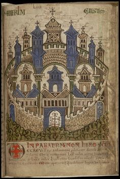 'Liber Floridus' (Book of Flowers), Medieval encyclopædia produced 900 years ago by Lambert, Canon of St Omer, in the NE France/Flanders/Belgium region. Medieval Books, Medieval World, Medieval Manuscript, Medieval Art, Renaissance Art, Illuminated Letters, Illuminated Manuscript, Book Of Hours, Arte Popular