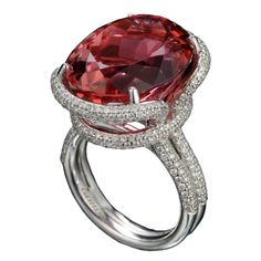"1stdibs - ""Sweet"" pinkish Orange Tourmaline and Diamond ring by Tamir. explore items from 1,700  global dealers at 1stdibs.com"