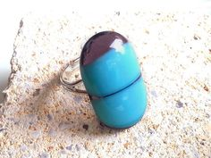 Large Ring - Turquoise Purple - Fused Glass - Statement Ring