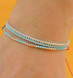 Women's Bracelets & Anklets simple and pretty. turquoise and silver. would be a pretty anklet using stretch cord or claspsimple and pretty. turquoise and silver. would be a pretty anklet using stretch cord or clasp Dainty Bracelets, Seed Bead Bracelets, Colorful Bracelets, Ankle Bracelets, Silver Bracelets, Friendship Bracelets, Jewelry Bracelets, Jewelry Box, Handmade Bracelets