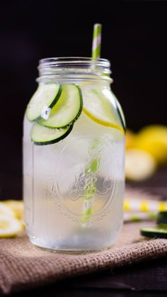 A great way to detox, this lemon cucumber infused water is a zesty and refreshing way to stay hydrated! Healthy Detox, Healthy Drinks, Cucumber Infused Water, Citrus Water, Ginger Cucumber Lemon Water, Best Lemon Water Recipe, Water With Fruit, Water With Lemon, Watermelon Detox Water