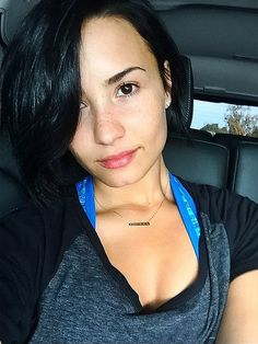 """Demi let her freckles shine in a """"No Makeup Monday"""" selfie."""