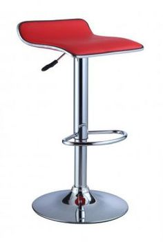Red Faux Leather / Chrome Thin Seat Adjustable Height Bar Stool - Pair  $113.52  http://www.knobs.co/stools/red-faux-leather-chrome-thin-seat-adjustable-height-bar-stool-pair-_POW-208-847.php  #barstool #red #adjustable