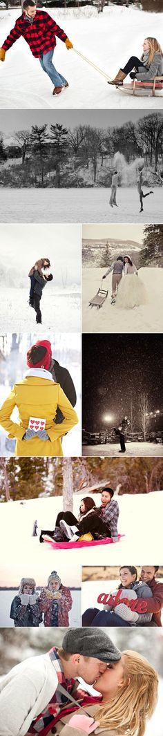 39 Winter Engagement Photos - Fun times