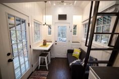 Couple's 192 Sq Ft Tiny House on Wheels in Sandy, Utah 004 Tiny House Talk, Tiny House Swoon, Tiny House Living, Tiny House Plans, Tiny House On Wheels, Tiny House Design, Small Living, House 2, Living Area