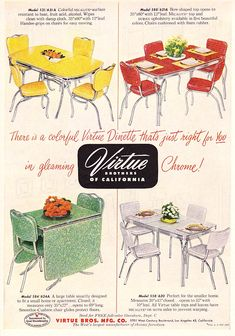 vintage chrome & formica kitchen/dining tables with chrome & vinyl chairs... My Grandmother had a red set with hutch.