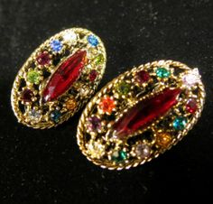 Vintage Earrings Gold Tone Oval Multi Colored Rhinestones | eBay