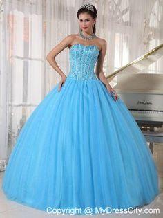 Blue Sweet 16 Dresses | Sweet 16 Birthday Dress for Puffy Sweetheart Beadwork Sky Blue $212.69 ...