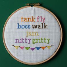 "Cross Stitched Music Lyrics, ""tank fly boss walk jam nitty gritty"" £30.00"