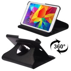 For+Tab+4+8.0+Black+Litchi+Texture+Leather+Case+with+2-angle+Rotating+Holder