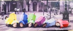 Vespa Scooter Domino Effect Canvas Wall Art Ready To Hang in Art, Canvas/ Giclee Prints | eBay