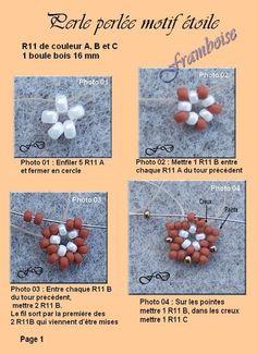 Perle perlée motif étoile - FRAMBOISE SAUVAGE