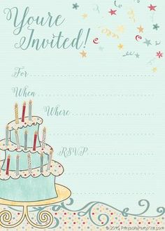 A Large Selection Of FREE Professionally Designed Invitations And Party Printables