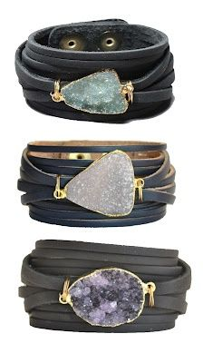 awesome Bracelets | Mindy Gold Designs.  Leather and druzy stones    ¶¶ #toutoblog.unb...