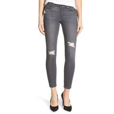 Paige Denim 'Transcend - Verdugo' Ankle Skinny Jeans ($209) ❤ liked on Polyvore featuring jeans, luna grey destructed, ripped jeans, zipper skinny jeans, torn skinny jeans, skinny jeans and distressing jeans