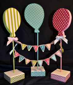 the wood connection: happy birthday balloon trio & banner Happy Birthday Decor, Happy Birthday Balloons, Birthday Table, Happy Birthday Banners, Birthday Decorations, Birthday Bunting, School Decorations, Birthday Ideas, Crafts To Make