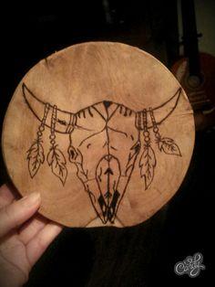 Pyrogafie Bull skull boho