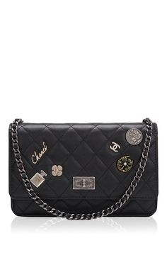 56b737a9fdf Runway Edition Chanel Black Aged Calfskin Lucky Symbol Wallet on Chain (WOC)  by Madison