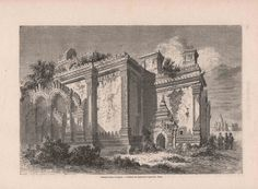 Antique French Engraving from 1860  Pagan Temple by reveriefrance