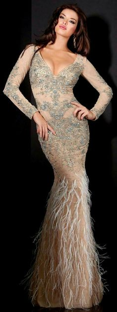 women gowns - Compare Price Before You Buy Prom Dresses Jovani, Dress Prom, Golden Dress, Mode Glamour, Feather Dress, Evening Dresses, Formal Dresses, Gowns Of Elegance, Costume