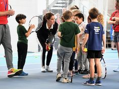 The Duchess of Cambridge takes part in a Tennis for Kids session at the Lawn Tennis Association on Tuesday.