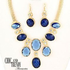 "STUNNING ""VERY HIGH END"" CHUNKY BLUE CRYSTAL  Necklace Set*CHIC AND TRENDY"
