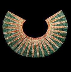 Moche culture (Peru)--pectoral made of white, green, and pink shell beads