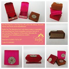 Our Mini Flap Box: A mini Flap Box with a Raw Silk exterior, Brocade interior and Flower Jewel embellishment.