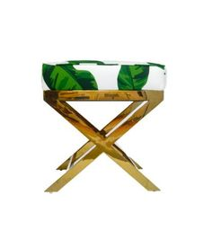 Polished Gold X Bench with our gorgeous banana leaves print. Also available in any Katie Kime pattern or COM!