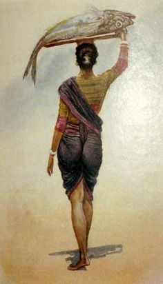 """""""A fishwife of Bombay"""" MV Dhurandhar's set of watercolours from the Indian Women Painting, Indian Artist, Indian Artwork, Indian Art Paintings, India Painting, Woman Painting, Indian Illustration, Figure Sketching, Fish Art"""