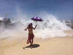 Sun protection parasol at the beach