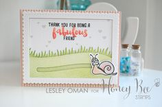 Fabulous Friend - Snail Slider Card With Two Tone Stamped Greeting