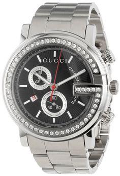 Gucci Watch , Gucci Men's YA101324 G-Chrono Diamond Case Black Guilloche Dial Watch