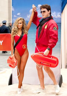 Carmen Electra (L) and Willie Geist as Baywatch Babes :)