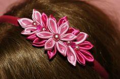 Pink flower headband  Pink  Kanzashi Headband by Khloesfashion, $15.50