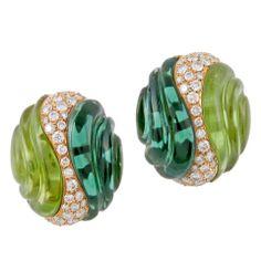 Ambrosi Tourmaline Peridot Diamond and Gold Earrings