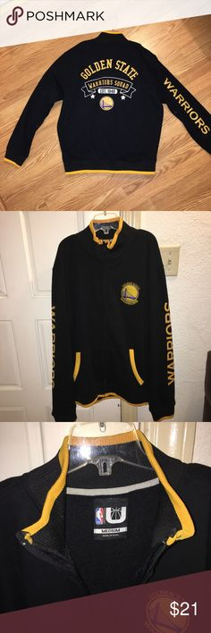 Golden State Warriors zip up Practically brand new. Only worn once. This is a medium men's. Soft inside, good condition. The front logo is stitched and the back is all screen printed. Any questions please feel free to ask Sweaters